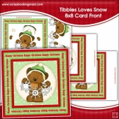 Tibbles Loves Snow Large 8x8 Card Front