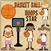 Hoop Star Girls ClipArt Graphic Collection
