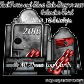 Red Purse and Shoes Side Stepper 2016 Calendar Card & Envelope