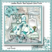 Ladies Room Teal Square Card Front