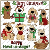 Xmas Pooches ClipArt Graphic Collection
