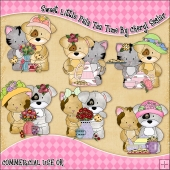 Sweet Little Pals Tea Time ClipArt Graphic Collection