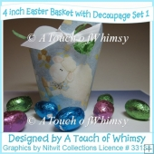 4 Inch Easter Baskets With Decoupage - Set 1