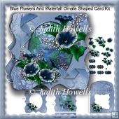 Blue Flowers And Waterfall Ornate Shaped Card Kit