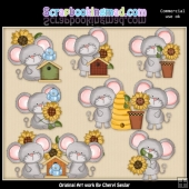 Little Mouse In The Sunflowers EXCLUSIVE ClipArt Collection