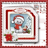 Christmas Cat And Mouse Scalloped Corner Card Kit