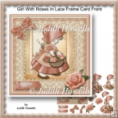 Girl With Roses In Lace Frame Card Front