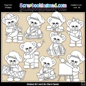 Sugar Plum Bear Little Artist EXCLUSIVE Digital Stamp