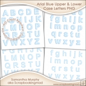 Arial Blue Upper & Lower Case Letters