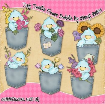 Tiny Tweets Flower Pocket ClipArt Graphic Collection