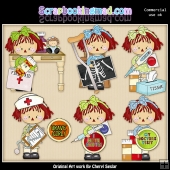 Annie At The Doctors ClipArt Graphic Collection