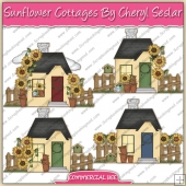 Sunflower Cottages ClipArt Graphic Collection - REF - CS