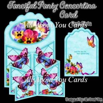 Fanciful Pansy Concertina Card