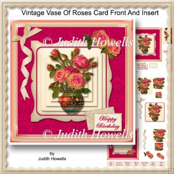Vintage Vase Of Roses Card Front And Insert