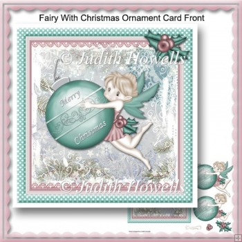 Fairy With Christmas Ornament Card Front