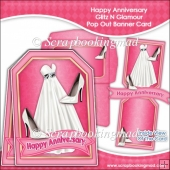 Happy Anniversary Glitz N Glamour Pop Out Banner Card