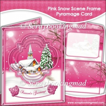 Pink Snow Scene Frame Pyramage Card