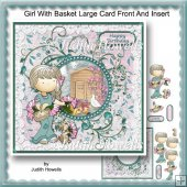 Girl With Basket Large Card Front And Insert