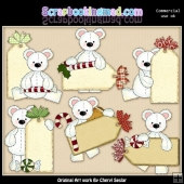 Stuffed Polar Bears Christmas Tags ClipArt Collection