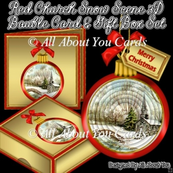 Red Church Snow Scene 3D Bauble Card And Gift Box Set