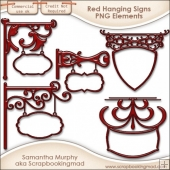 5 Red Hanging Sign Elements