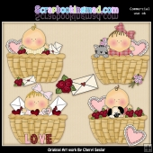 Baskets Of Valentine Blessings ClipArt Graphic Collection