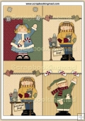 4 Whimsical Winter Kids Quick Greeting Cards PDF Download