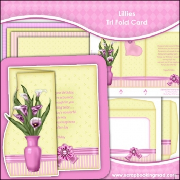 Lillies Scalloped Edge Tri-Fold Card Download