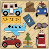 Holiday Vacation Travel Road ClipArt Graphic Collection