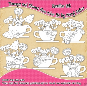 Teacups and Blooms Mice Colour Your Own Clip Art RESALE SET