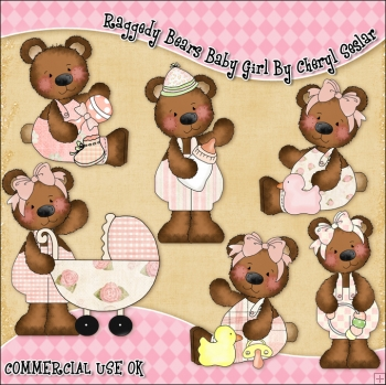 Raggedy Bears Baby Girl ClipArt Graphic Collection