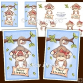 2 Cheeky Monkeys Card Fronts with Decoupage