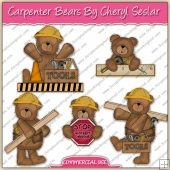 Carpenter Bears ClipArt Graphic Collection - REF - CS