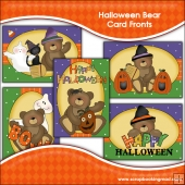 5 Halloween Bear Card Fronts