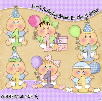 First Birthday Babies ClipArt Graphic Collection