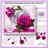 Red Rose Scalloped Aperture Tent Card Kit