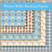 5 Winter Wally Backing Papers Download (C172)