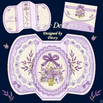 Lace and Lavender Four Fold Card