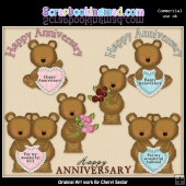 Anniversary Bears ClipArt Graphic Collection