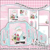 Joyful Santa Scalloped Four Fold Card & Envelope