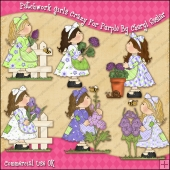 Patchwork Girls Crazy For Purple ClipArt Graphic Collection