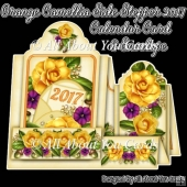 Orange Camellia Side Stepper 2017 Calendar Card & Envelope