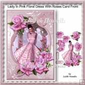 Lady In Pink Floral Dress With Roses Card Front