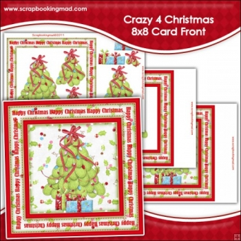Crazy 4 Christmas Large 8x8 Card Front