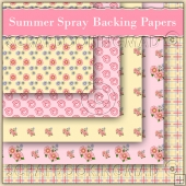5 Summer Spray Backing Papers Download (C140)