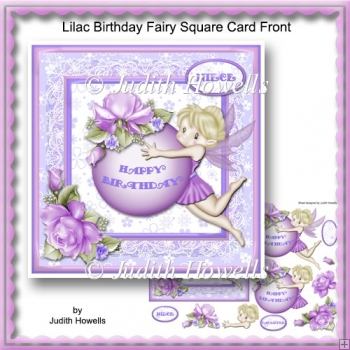 Lilac Birthday Fairy Square Card Front