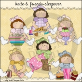Katie and Friends Sleepover ClipArt Graphic Collection