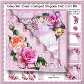 Beautiful Roses Scalloped Diagonal Fold Card Kit