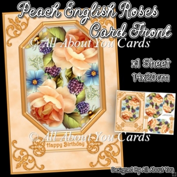Peach English Roses Pyramage Card Front