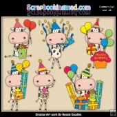 Birthday Cows Clipart Graphics Download
